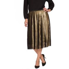 PERFECT for the holidays!! Plus Moda Women's Plus Pleated Metallic Skirt