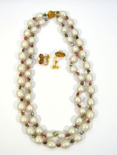 Miriam Haskell Milk White Baroque Pearl Demi Parure / Elegant Miriam Haskell two strand baroque pearl necklace with multi color rhinestone separators with  matching earrings.  Both necklace and earrings are signed /395