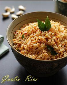 Garlic rice recipe, How to make south Indian style garlic rice - Raks Kitchen- spicy garlic rice Leftover Rice Recipes, Easy Rice Recipes, Veg Recipes, Indian Food Recipes, Vegetarian Recipes, Cooking Recipes, Healthy Recipes, Dishes Recipes, Recipies
