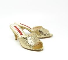 """1950's Inspired Slip On Heel. Proud To Be 100% Vegan Friendly. Upper Material: Starlet Glitter Lining Material: Man Made Heel Height: 2 8/5"""" Inches Step In Pump Mule Slipper Fit: Please Size Up 1/2 To Get The Most Comfortable Fit. Not Suitable For A Wider Width. Please Contact Customer Care For Any Sizing Suggestions or Questions. Imported Vintage Inspired Shoes, Palm Beach Sandals, Pumps, Heels, Vegan Friendly, Wedding Shoes, Slippers, Footwear, Slip On"""