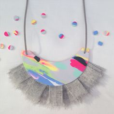 Mary Ted Colour-Strike statement necklace with linen fringing & leather neck tie