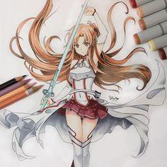Sword Art Online - Asuna Yuuki ~ by Taira Sword Art Online Drawing, Sword Art Online Kirito, Art Manga, Manga Drawing, Dibujos Anime Chibi, Sword Art Online Wallpaper, Anime Sketch, Fan Art, Oeuvre D'art