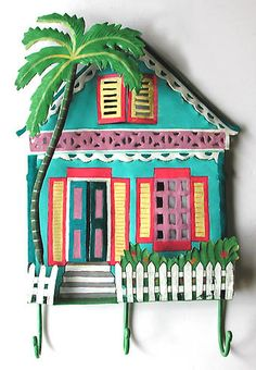 Hand Painted Metal Gingerbread House Hook - Haitian Steel Drum Art - Tropical Design - x Tropical Artwork, Tropical Wall Decor, Tropical Interior, Tropical Design, Tropical Style, Tropical Fish, Caribbean Decor, Caribbean Homes, River House Decor