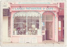 A patisserie has a very cozy atmosphere and a cool decor in European style and is usually in the enter of a vibrant city. Shared by The Lady's Patisserie. Image Pastel, Pink Cafe, I Believe In Pink, Shop Fronts, Oui Oui, Everything Pink, Cake Shop, Pretty Pastel, Pastel Pink