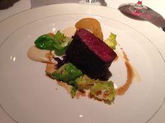 Roast Saddle of Venison, Celeriac, Pear, Chestnut & Wild Berry Vinegar at the Roux at Landau