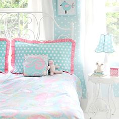 My Baby Sam Pixie Baby Bedding Set in Aqua combines gorgeous pink and aqua patterns to create the most adorable girl's bedroom set. This set flawlessly combines polka dots, paisley, ruffles and bows.
