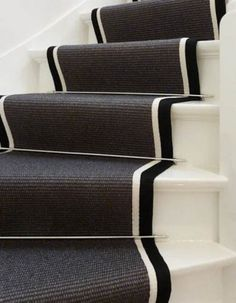 Black and white 1930s House Renovation, Painted Staircases, Escalier Design, Terrazo, Small Entryways, Happy House, Carpet Stairs, Hallway Decorating, Staircase Design