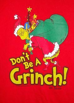 "Don't Be A Grinch! Men's Red T-Shirt Size XL Waist 47"" Dr. Seuss Christmas #MOKnits #GraphicTee"
