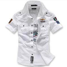 Shirt Men 2015 Summer New Mens Retro Shirts short Sleeve Shirt White Navy Blue Plus Size M To Casual Shirt Camisas Hombres Mens Retro Shirts, Cheap Mens Shirts, Mens Shirts Online, Men Shirts, Uniform Shirts, Casual Shirts, Dress Shirts, Military Style Shorts, Army Style