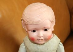 Alte Schildkröt-Liselotte-Puppe  Celluloidkopf mit Lederkörper