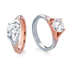 JURA/PAVE engagement rings by MaeVona: elegant nature-inspired design, where top and shank dovetail into each other, and open sides allow for maximum light around gemstone. Named after the Scottish island of Jura