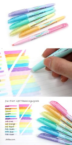These FriXion Light highlighters are erasable! Great for highlighting textbooks and notes. Too Cool For School, Back To School, School School, School Organization, Planner Organization, Erasable Highlighters, Cool School Supplies, Office Supplies, School Hacks