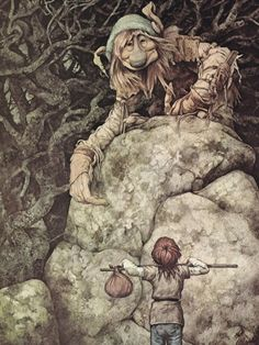 Troll and Red Haired boy - Brian Froud JBMD - The making of.: Around the Table with. Part 1 Brian Froud, Forest Creatures, Magical Creatures, Fantasy Creatures, Duende Real, Fantasy World, Fantasy Art, Dragons, Alan Lee