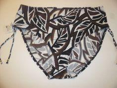 YBL 20 W bikini swim bottoms ruched sides large leaf print brown black white