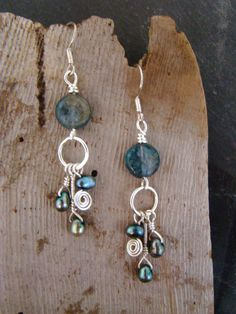 Boho Style Blue Labrodite/Feldspar and Natural Pearl by Sewartzee, $15.00
