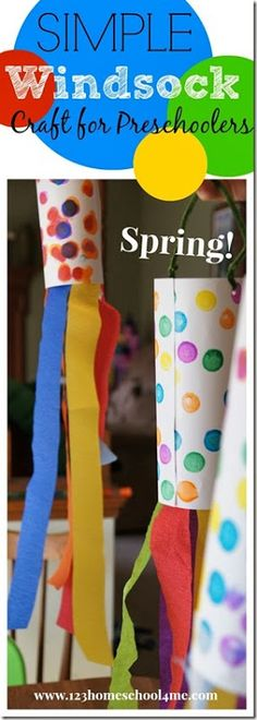 Preschool Crafts for Kids Simple Windsock Spring Craft for Kids - This is such a fun, simple craft for kids from Toddler and Preschool to Kindergarten and grade. My kids LOVE using Bingo Markers. Preschool Projects, Daycare Crafts, Classroom Crafts, Projects For Kids, Crafts For Kindergarten, Weather Kindergarten, Toddler Art Projects, Daycare Ideas, Spring Crafts For Kids