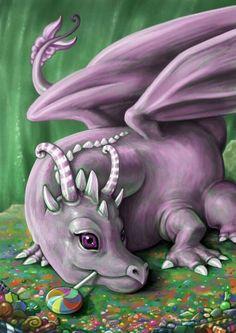 Aww.. baby dragon and an lolipop!