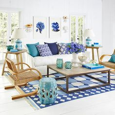Coastal living room with colored accessories to help accent the space with pops of color