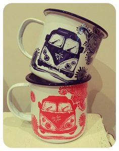 Mugs ahoy! Hand painted by me! Available to buy at facebook.com/vdubjunkiecampers
