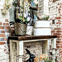 Image may contain: 1 person, plant, dog and outdoor Farmhouse Style, Farmhouse Decor, Urban Farmhouse Designs, Repurposed, Dog, Plants, Outdoor, Image, Furniture