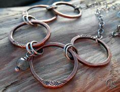 Labradorite Copper Earrings Rustic Wire by ArtandSoulJewelry Copper Necklace, Copper Jewelry, Wire Jewelry, Jewelry Art, Gemstone Jewelry, Jewelery, Jewelry Necklaces, Jewelry Design, Bracelets