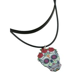 Colorful Fashion Skull Pendant Necklace ❤ liked on Polyvore featuring jewelry, necklaces, multicolor jewelry, multi color jewelry, colorful jewelry, multi color necklace and tri color necklace