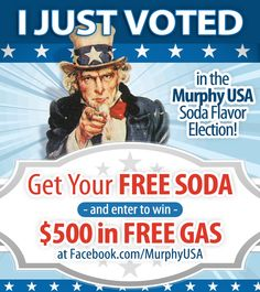 Vote on our new soda flavor and get a FREE SODA and be entered to win $500 of FREE GAS!