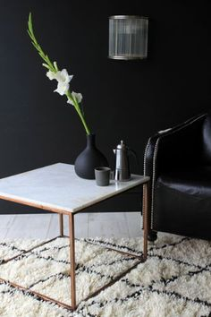Marble Top Copper Square Coffee Table