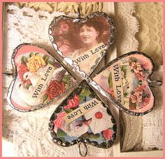 fun soldered heart charms Lovely Shabby Chic Valentine's Day 2013 - Romantic Valentine Decorations in the Bedroom and Bathroom with Lots of . My Funny Valentine, Little Valentine, Valentine Day Crafts, Vintage Valentines, Valentine Hearts, Heart Day, I Love Heart, Soldering Jewelry, Heart Charm