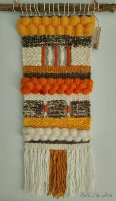 Made with natural wool, roving wool, cotton thread and wood. Dimensions (approximately) Woven length: Total length (from wood stick including fringe) in) Width: in) Wood stick: in) This item can be made to Weaving Textiles, Weaving Art, Tapestry Weaving, Wall Tapestry, Hand Weaving, Hanging Tapestry, Weaving Looms, Loom Scarf, Handloom Weaving