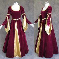Medieval Renaissance Burgundy Gold Gown Dress Costume LARP Wedding for sale online Renaissance Costume, Medieval Costume, Renaissance Fashion, Renaissance Clothing, Medieval Gown, Gold Gown Dress, Ball Gown Dresses, Dress Up, Pagan Wedding Dresses