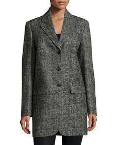 Button-Front Boyfriend Jacket, Graphite (Grey), Size: 6 - Michael Kors Collection