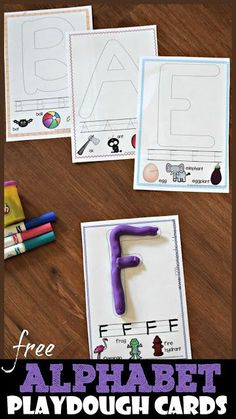 FREE Alphabet Playdough Cards these free printable playdough mats are a fun way for toddler preschool kindergarten and first grade kids to practice forming letters while. Preschool Phonics, Preschool Letters, Preschool Learning Activities, Free Preschool, Learning Letters, Kindergarten Worksheets, Alphabet Phonics, Toddler Preschool, Kindergarten Handwriting