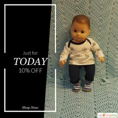 """Today Only! 10% OFF this item.  Follow us on Pinterest to be the first to see our exciting Daily Deals. Today's Product: Baby Doll Clothes to fit 15 inch baby doll BOY """"Awesome Puppies"""" 15 inch playset top socks pants bulldogs Buy now: https://small.bz/AAe6lgM #etsy #etsyseller #etsyshop #etsylove #etsyfinds #etsygifts #musthave #loveit #instacool #shop #shopping #onlineshopping #instashop #instagood #instafollow #photooftheday #picoftheday #love #OTstores #smallbiz #sale #dailydeal…"""