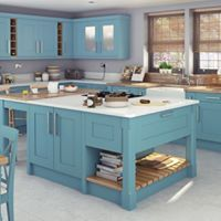 London Smooth Painted Shaker finished in Northern Tide with polished white quartz worktops