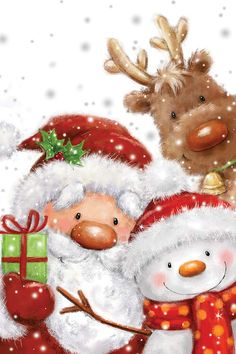 Santa Snowman and Reindeer Canvas Wall Art by MAKIKO | iCanvas Christmas Scenes, Noel Christmas, Christmas Greetings, Winter Christmas, Vintage Christmas, Christmas Crafts, Christmas Decorations, Christmas Ornaments, Merry Christmas Images
