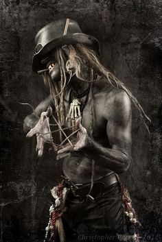 Baron Samedi (Baron Saturday, also Baron Samdi, Bawon Samedi, or Bawon Sanmdi) is one of the Loa of Haitian Voodoo. Samedi is a Loa of the dead, along with Baron's numerous other incarnations Baron Cimetière, Baron La Croix, and Baron Kriminel. He is the head of the Guédé family of Loa, or an aspect of them, or possibly their spiritual father. 'Samedi' means 'Saturday' in French. His wife is the Loa Maman Brigitte.