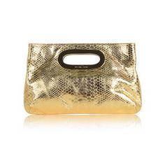 MICHAEL KORS Berkley Clutch Metallic Gold