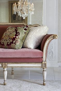Sitting room at Maison de Ville: a Parisian pied-a-terre by @ebanistacollect. Featuring our hand-carved Bergamo Settee with rose velvet upholstery. Discover more at http://www.ebanista.com.