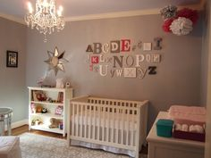 Modern baby girl nursery ideas feature white wooden crib grey wall chandelier display for room canada . chandelier for baby girl nursery room .