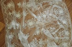 Wedding Dress Lace Fabric for HAUTE COUTURE Ivory 3D Flower