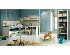 Muebles Arganda. Cama nido, cabecero, mesa de estudio, buck con cajones y 2 estantes
