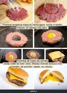 Lajfhaki.pl - Podczas smażenia mięsa do hamburgera, wykrój w środku miejsce, do…