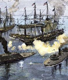 Civil War naval battle in Mobile Bay Confederate States Of America, America Civil War, Naval History, Us History, Military Art, Military History, American War, American History, Carolina Do Sul