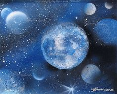 """"""" Blue Star """" - MayaSunn Flash Art, Buy Prints, Oeuvre D'art, Les Oeuvres, Cosmos, Planets, Creations, Stars, Canvas"""