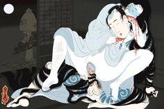 ".:. ""Yuuwaku"" (seduction). A Shunga print by Senju Horimatsu depicting a Yurei (Japanese ghost) seducing a sleeping man. By Senju Horimatsu."