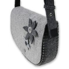 Felted Long Strap Gray and Black Purse by KultomaniA on Etsy, $55.00