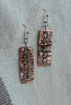 Mixed metal fold formed hammered copper earrings with chains