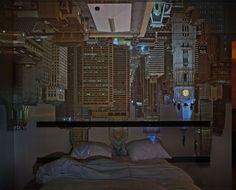 Camera Obscura: Night View of Philadelphia from Loews Hotel Room April 2014 ©Abelardo Morell/Courtesy of Edwynn Houk Gallery, New York