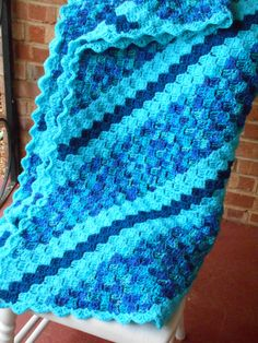 Super Great for Snuggling! Turquoise extra large blanket throw crochet by QuailCreekCreations